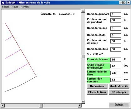 Ecran des paramètres pour former la voile