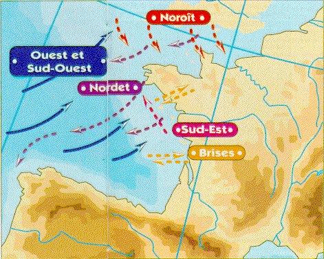 Le nom des vents sur l'Atlantique